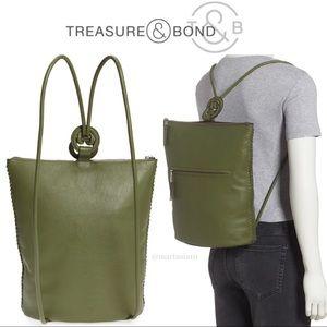 Treasure & Bond Green Quinn Leather Backpack